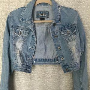 Cropped Distressed Jean Jacket
